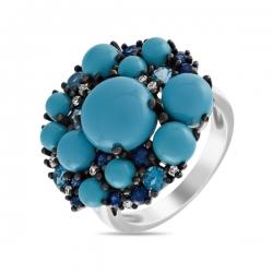 Кольцо из белого золота c топазами, бриллиантами, бирюзой и сапфирами