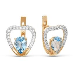 Золотые серьги Сердца c топазом Swiss