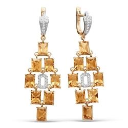 Золотые серьги c цитрином