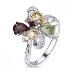 Кольцо из белого золота c желтыми бриллиантами, перидотами и кварцем Брызги шампанского
