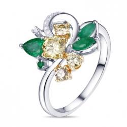 Кольцо из белого золота c желтыми бриллиантами и изумрудами Брызги шампанского