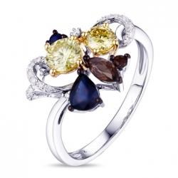 Кольцо из белого золота c желтыми бриллиантами, сапфирами и кварцем Брызги шампанского