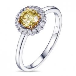 Кольцо из белого золота c желтыми бриллиантами Брызги шампанского