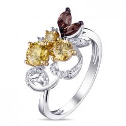 Кольцо из белого золота c желтыми бриллиантами и кварцем Брызги шампанского