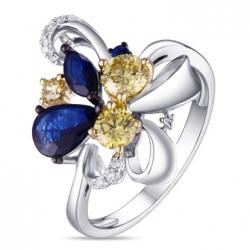 Кольцо из белого золота c желтыми бриллиантами и сапфирами Брызги шампанского