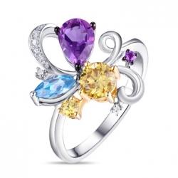Золотое кольцо c аметистами, топазом и желтыми бриллиантами Брызги шампанского