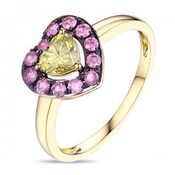Кольцо из желтого золота c желтым бриллиантом и розовыми сапфирами Брызги шампанского