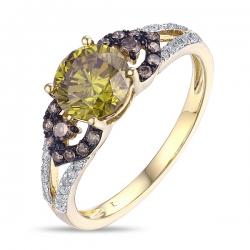 Золотое кольцо c желтыми бриллиантами Брызги шампанского