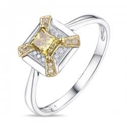 Кольцо из белого золота c желтым бриллиантом Брызги шампанского