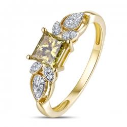 Золотое кольцо c желтым бриллиантом Брызги шампанского