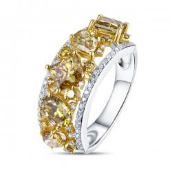 Кольцо из желтого золота c бриллиантами Брызги шампанского