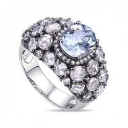 Кольцо из белого золота c аквамарином, топазами и бриллиантами Эксклюзив