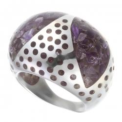 Кольцо из серебра 925 пробы с аметистами