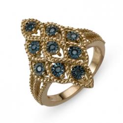 Золотое кольцо c синими бриллиантами