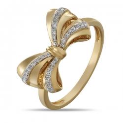 Золотое кольцо в виде банта c бриллиантами