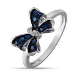 Золотое кольцо в виде банта c бриллиантами и сапфирами