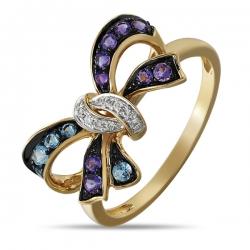 Золотое кольцо Бантик c аметистами, топазами и бриллиантами