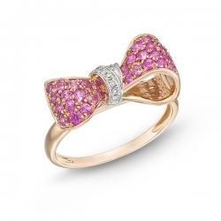 Золотое кольцо Бантик c розовыми сапфирами