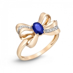 Золотое кольцо Бантик c бриллиантами и сапфиром