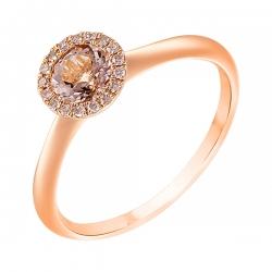 Кольцо из розового золота 585 пробы с бриллиантами и морганитом