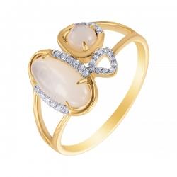 Кольцо из золота 585 пробы с бриллиантами и перламутром