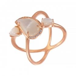 Кольцо из розового золота 585 пробы с бриллиантами и перламутром