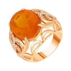 Кольцо из розового золота 585 пробы с опалом и бриллиантами