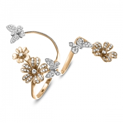 Золотое кольцо Цветы c бриллиантами