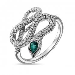 Кольцо Змея из белого золота c бриллиантами и изумрудом