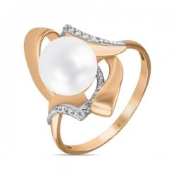Золотое кольцо c белым жемчугом и фианитами