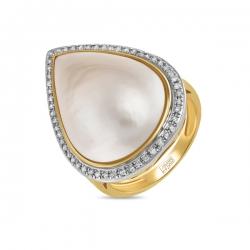 Кольцо из желтого золота c бриллиантами и перламутром