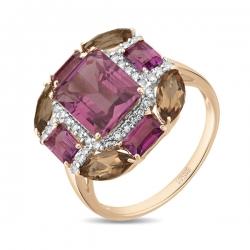 Золотое кольцо c аметистами, бриллиантами и кварцем