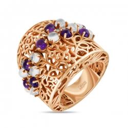 Золотое кольцо c аметистами, топазами и лунным камнем