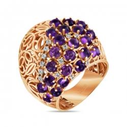 Золотое кольцо c аметистами и топазами