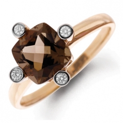 Кольцо из белого золота c бриллиантами и кварцем