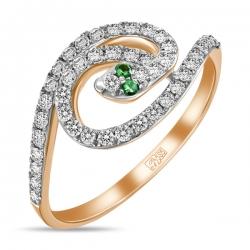 Золотое кольцо «Змея» c зелеными гранатами