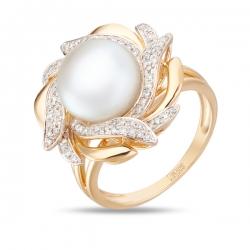 Золотое кольцо c бриллиантами и белым жемчугом Секрет русалки