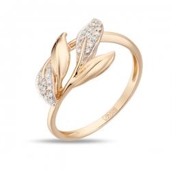 Золотое кольцо Листья c бриллиантами