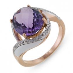 Золотое кольцо c агатами, аметистом и бриллиантами