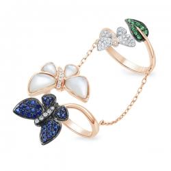 Золотое кольцо «Бабочки» c бриллиантами, гранатами, перламутром и сапфирами