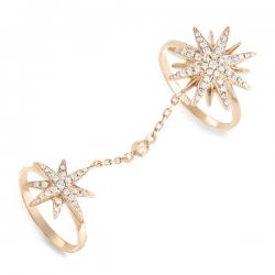 Золотое кольцо Звезда c бриллиантами