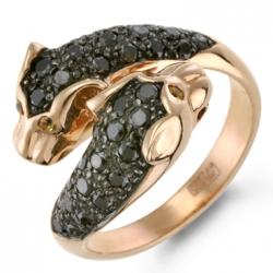 Золотое кольцо «Пантеры» c черными бриллиантами и желтыми сапфирами
