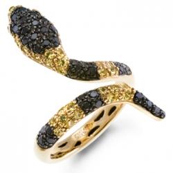 Кольцо «Змея» из желтого золота c бриллиантами, рубинами и сапфирами