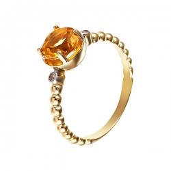Кольцо из серебра 925 пробы с цитрином и бриллиантами