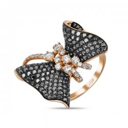 Золотое кольцо Бабочка c черными бриллиантами