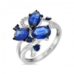 Золотое кольцо c бриллиантами, кианитами и сапфирами