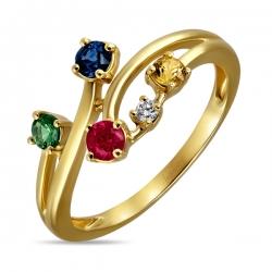 Кольцо из желтого золота c бриллиантом, гранатом, рубином и сапфирами