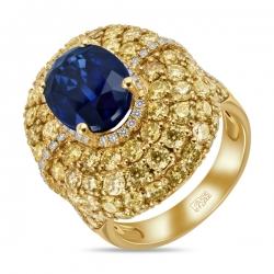 Кольцо из желтого золота c бриллиантами и кианитом Эксклюзив