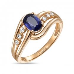 Золотое кольцо c кианитом и сапфирами