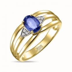 Золотое кольцо c бриллиантами и кианитом